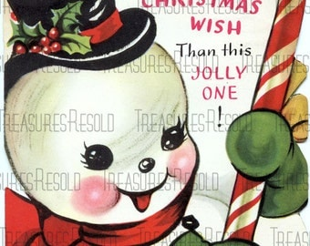 Snowman Candy Cane Christmas Card #10 Digital Download