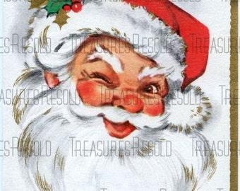 Jolly Santa Claus Christmas Card #138  Digital Download