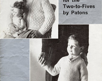 1950's Patons Pattern 1387 - Original Hard Copy Vintage Knitting Pattern - Girls Boys Children's V Neck Sweater Jumper And Cardigan