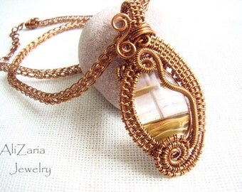 Ice Quartz Queen Necklace - Wire Wrapped - Copper