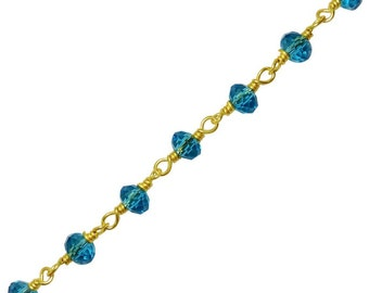 4mm Faceted London Blue Topaz 18K Gold-Fill Rosary Chain, 925 Sterling Silver Blue Topaz Rosary, Wholesale Pricing - Sold by the Foot