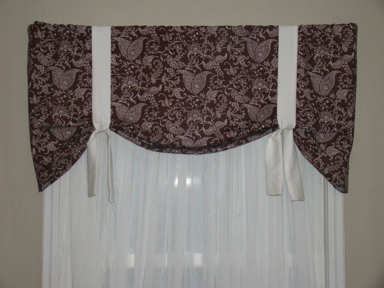 Brown Ruffle Shower Curtain Natural Tie Up Curtain
