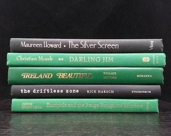 Green and Black Decorative Book Collection, Home Decor, Vintage Books for Interior Design, Book Art