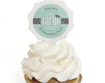 Graduation Cupcake Picks - Graduation Party Cupcake Decorations - Con-GRAD-ulations Mint Cupcake Picks - Graduation Treats - 12 pc.