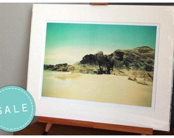 SALE Mounted beach photograph, fine art photo print, beach, vintage, landscape, cornwall, uk