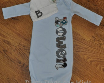 Personalized Appliqued  Infant Gown with Personalized Infant Hat for Baby Boy