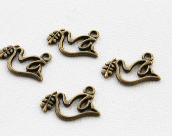10 Antique Gold Dove Charms Metal Jewelry Findings - 13mm