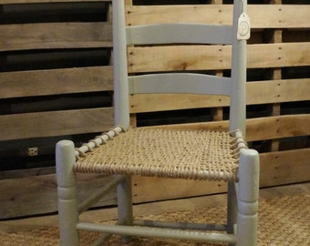 Chalk Painted Chair w/ Hand Woven Jute Seat