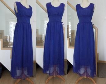 blue chiffon long dress spring summer dress sleeveless V neck chiffon maxi dress clothing long dress for women vintage party dress