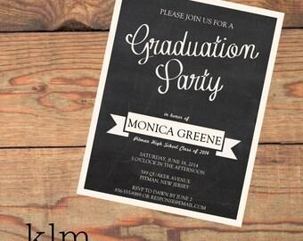Chalkboard Graduation Postcard Invitations
