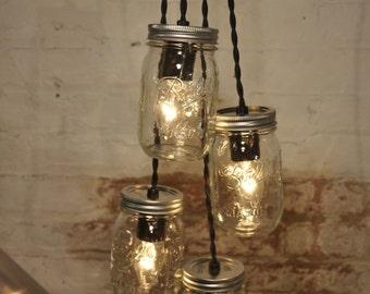 4 Mason Jar Chandelier Pendant Light Fixture Beautiful Rustic Industrial