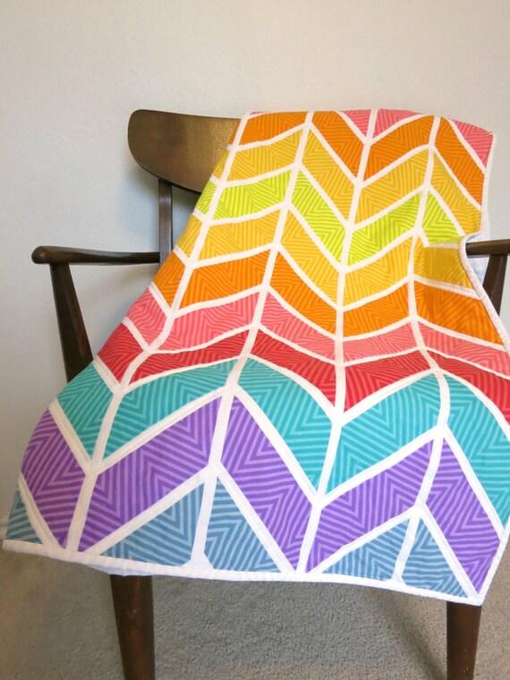 Handmade Chevron Baby Quilt Modern Baby Quilt Bright