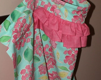 Ruffled Nursing Cover in an Aqua, Pink, and Green Floral Print and Fully Lined with a Pink Print 100% Premium Cotton Fabrics