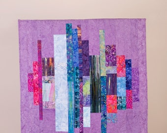 Quilted, modern, batik wall hanging