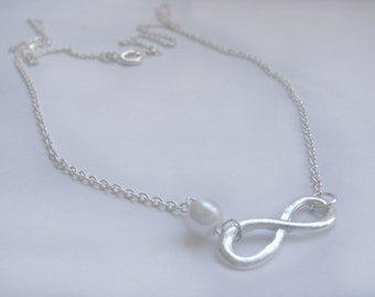 Infinity necklace, silver necklace, Bridesmaid gift, Infinity charm, UK seller, silver necklace UK