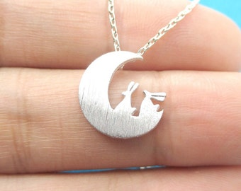 Bunnies On The Moon Silhouette Rabbit Shaped Animal Charm Necklace in Silver   Handmade Animal Jewelry