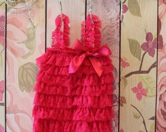 Hot pink lace petti romper, pink lace petti romper, pink lace romper, baby romper, first birthday outfit,smash cake outfit,photo prop,romper