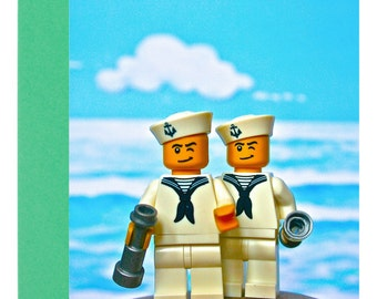 Toypincher Happy Sailors A6 any Occasion Blank Greetings Card (Birthday) Gay Wedding