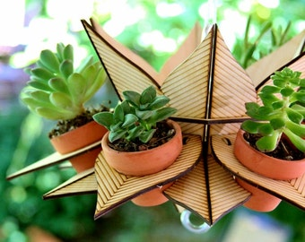 Flower Tower, Hanging planter ideal for succulents and anything else small. Stack tiers to make a vertical garden!