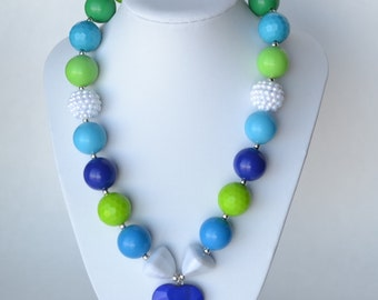 Blue & Green CHUNKY necklace with acrylic beads, tiger tail stringing, and metal toggle clasp