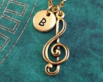 Treble Clef Necklace, Gold Music Note Charm, Personalized Necklace, Pendant Necklace Musician Necklace Engraved Necklace Gold Music Keychain
