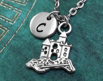 Sandcastle Necklace, Personalized Necklace, Castle Pendant, Beach Gift, Monogram Necklace, Beach Lover Gift, Sandcastle Charm Necklace