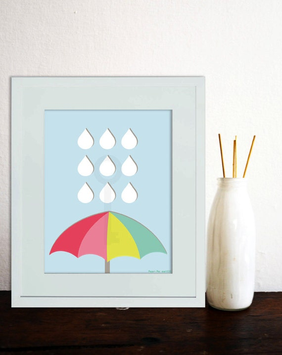 Umbrella rain drops rainbow themed nursery by paperpandakids for Rainbow themed baby nursery