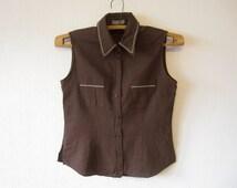 Brown Vest Women Romantic Linen Blend Medium Size Waistcoat Steampunk Blouse Comfortable Classic