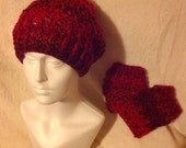 Red slouchy crochet hat and fingerless gloves; women's; chunky yarn; warm, soft and comfortable