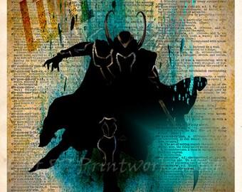 Loki - The Avengers dictionary art print  -  Super Hero Pop Art - Marvel wall art
