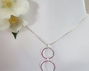 Beautiful Sterling Silver Three Rings Necklace