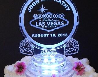 Light Up Las Vegas Cake Topper - Las Vegas Wedding Cake Top -Acrylic Wedding Cake Topper -LED Cake Top