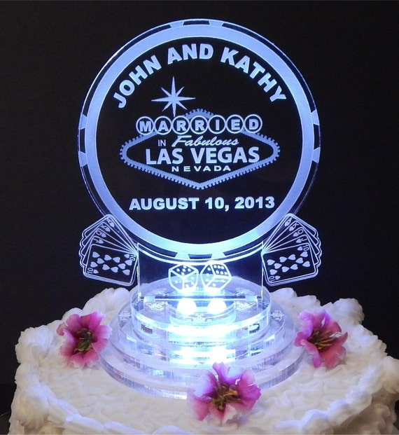 Las Vegas Lighted Wedding Cake Topper Acrylic Laser Engraved