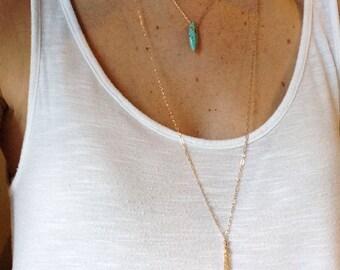Long Gold Tassel Necklace, Gold Tassel Necklace, Dainty Gold Tassel Necklace