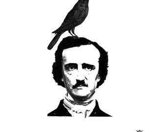 Edgar Allan Poe and Raven Wickedly Lovely Skin Art Temporary Tattoo (includes 2 tattoos)