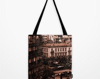 City Center Sepia Tote Bag, Urban Photography, Architecture, Buildings, Brown Shopping Bag, Shoulder Bag, Gift Bag