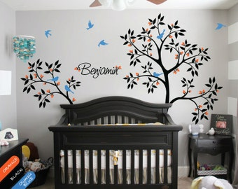 Personalized nursery tree wall decal with baby name, Flying birds and cute leaves wall mural sticker trees nature 052