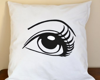 Decorative, hand screen printed throw pillow.