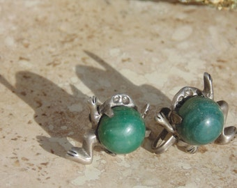 Mexico Silver Green Frog Screw Back Earrings