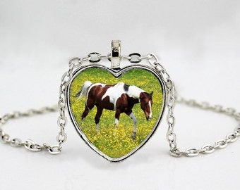 Brown and White Horse Heart Pendant Necklace - Paint Horse - Pinto Horse - APHA
