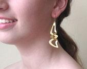 Long Gold Geometric Earrings  - Delicate Gold Earrings - Geometric Jewelry - Sophisticated Jewelry - Impressive Jewelry