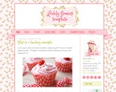 Blogger template. Lovely flowers. Premade theme. Responsive blog design. Cute feminine, playful, joyful, funny, spring, flower, pink, green.