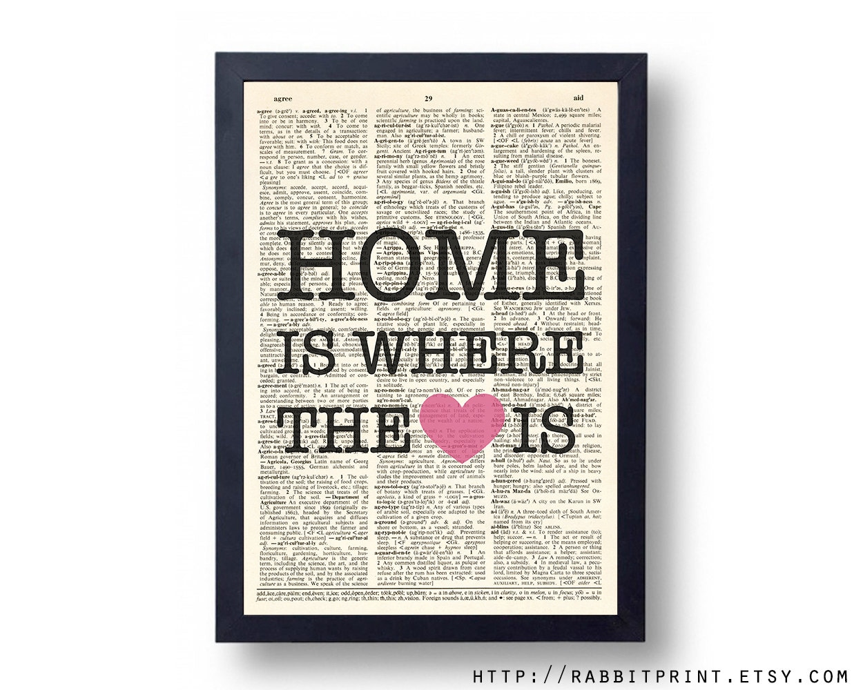 Home Is Where The Heart Is Wall Art Print Quote By RabbitPrint