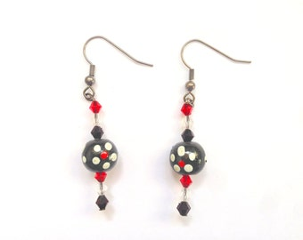 Dangle Silver Bead Earrings - white, red, black - Dots - Handmade - Womens Jewelry