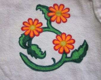 Swirling Flowers; 12 month Onesie Original Design