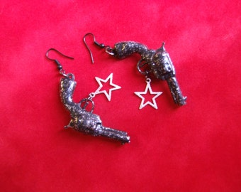 Big Black Gun and Star Statement Earrings / Rockabilly Gun Dangle Earrings / Goth Jewelry /  Pop Art Jewelry / Glitter Fun Earrings !