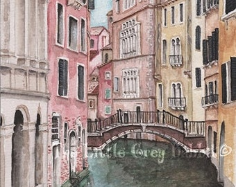 Venice Italy Watercolor Print, Water Canal, Travel Art, Pink, Beige, Blue, Architecture