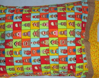 Sock Monkey Flannel Pillow Case to fit standard size pillow