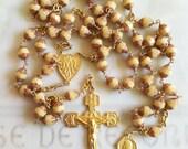 Rosary - Czech Glass Saint Mary Magdalene Rosary - 18K Gold Vermeil Crucifix & Center