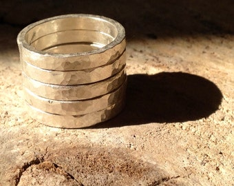 Set of 5 Handmade Fine Silver Stack Hammered Rings